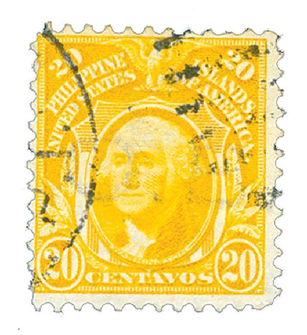 1909 20c Philippines, yellow, double-line watermark, perf 12