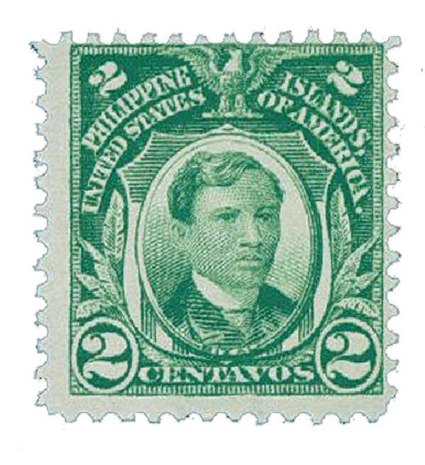 1911 2c Philippines, green, single-line watermark, perf 12