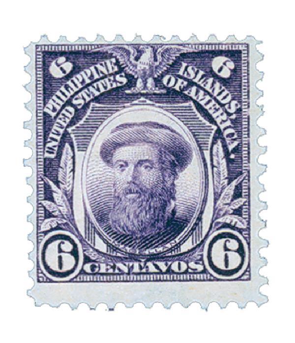 1911 6c Philippines, deep violet,single-line watermark, perf 12