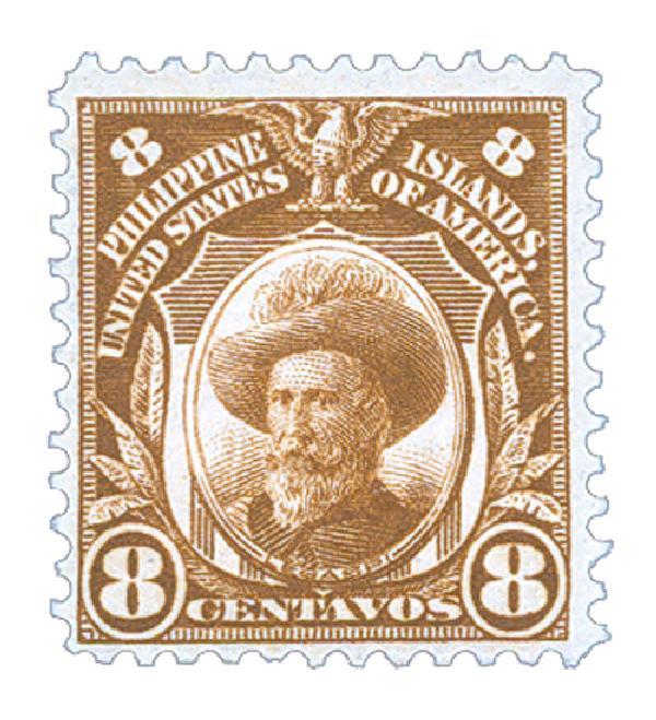 1911 8c Philippines, brown, single-line watermark, perf 12
