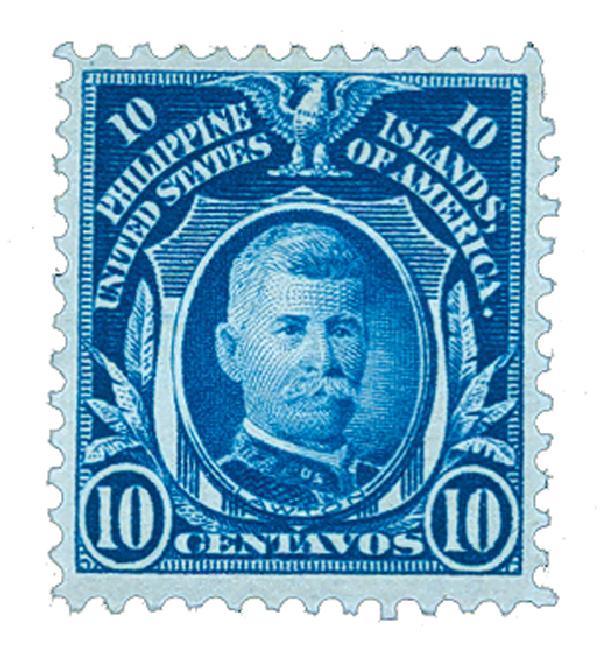1911 10c Philippines, blue, single-line watermark, perf 12