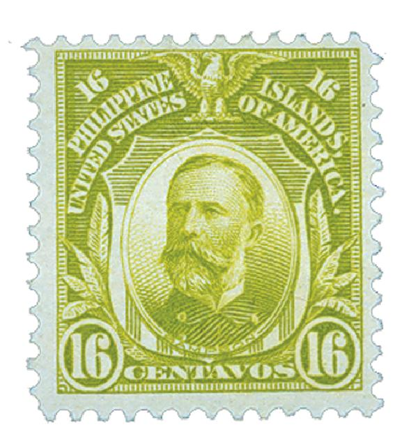 1911 16c Philippines, olive green, single-line watermark, perf 12