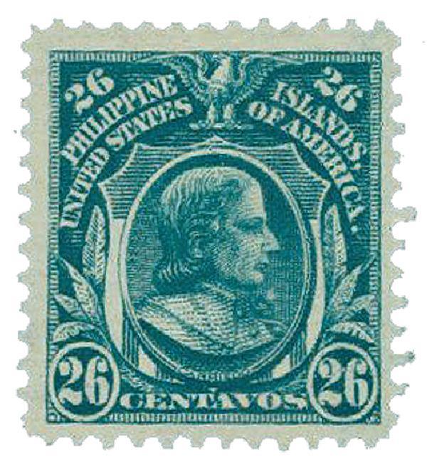 1911 26c Philippines, blue green,single-line watermark, perf 12
