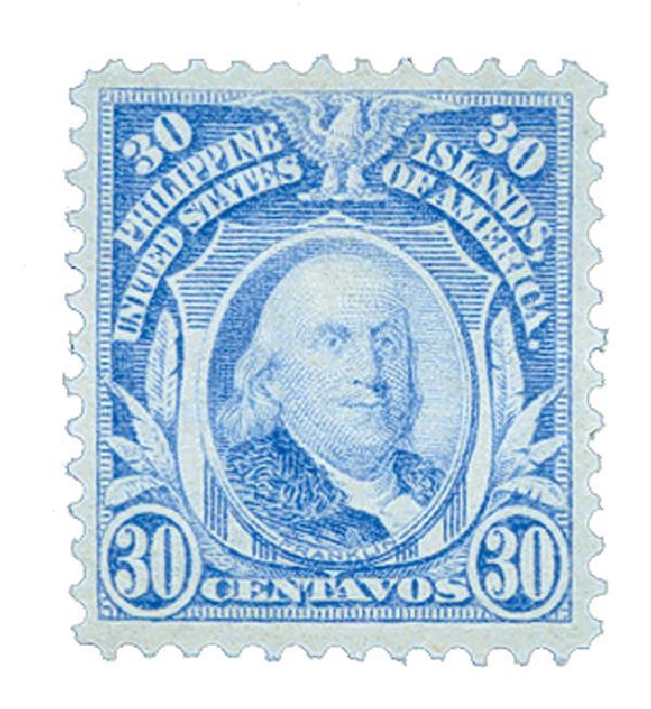 1911 30c Philippines, ultramarine, single-line watermark, perf 12