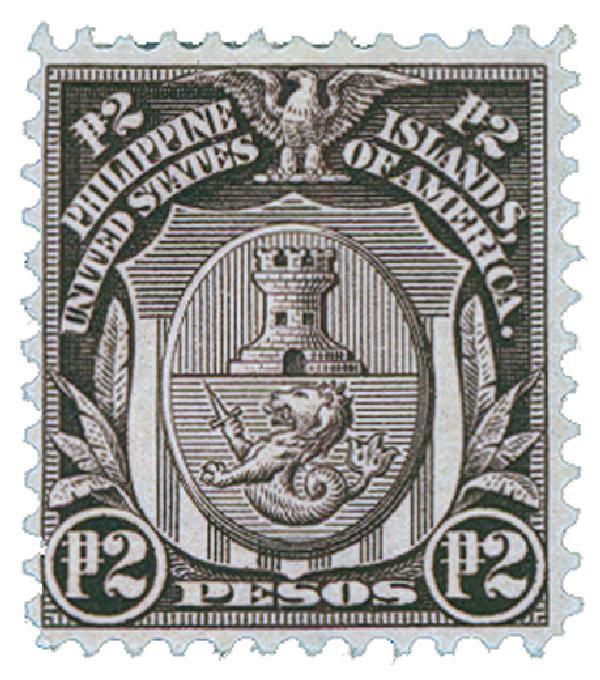 1911 2p Philippines, violet brown, single-line watermark, perf 12