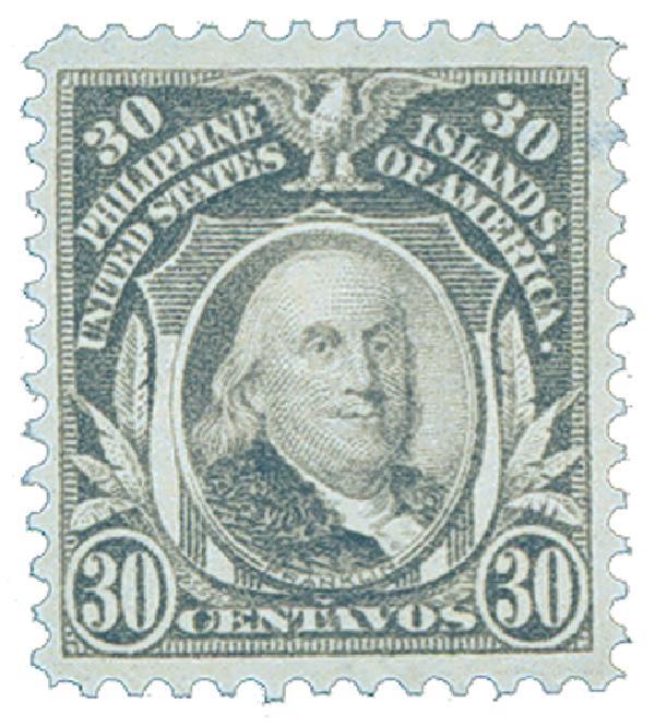 1914 30c Philippines, gray, single-line watermark, perf 12