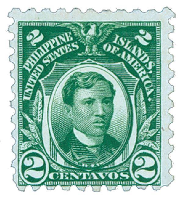 1914 2c Philippines, green, single-line watermark ,perf 10
