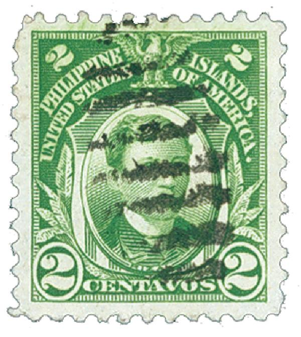1917 2c Philippines, yellow green, unwatermarked, perf 11