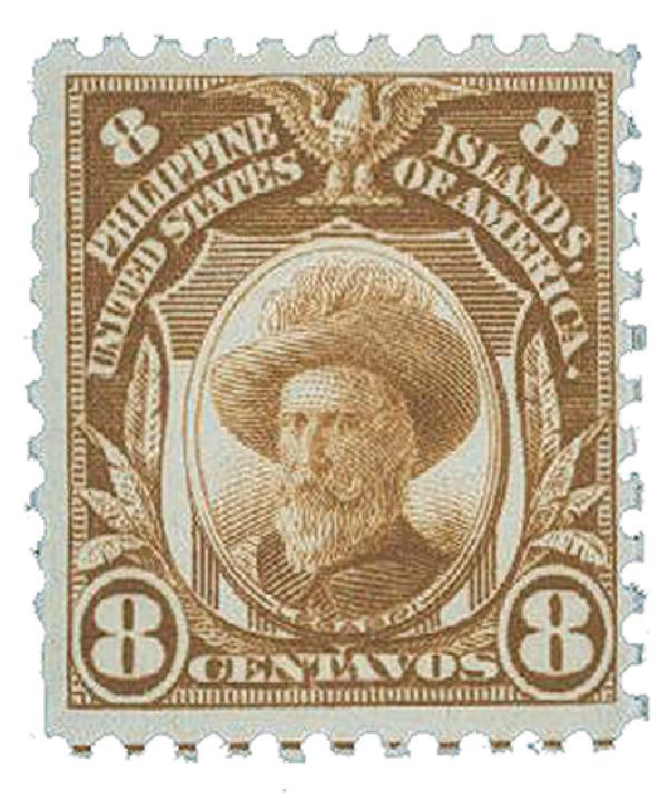 1917 8c Philippines, yellow brown, unwatermarked, perf 11