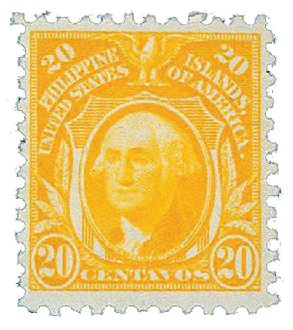 1917 20c Philippines, orange yellow, unwatermarked, perf 11