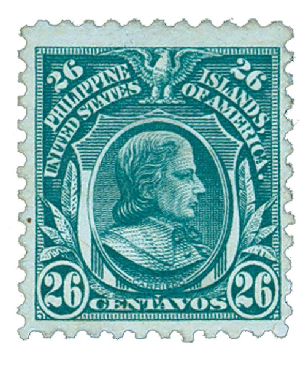 1917 26c Philippines, green, unwatermarked, perf 11