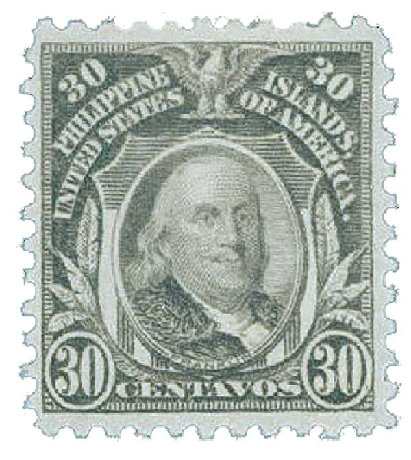 1917 30c Philippines, gray, unwatermarked, perf 11