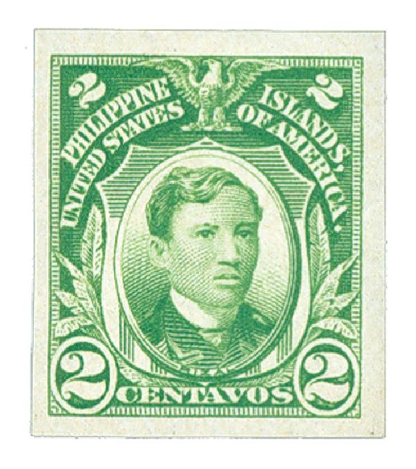 1931 2c Philippines, yellow green,unwatermarked, imperforate