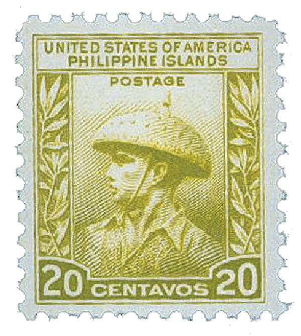 1935 20c Philippines, light olive green, unwatermarked, perf 11