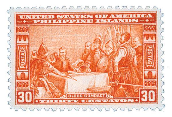 1935 30c Philippines, orange red, unwatermarked, perf 11