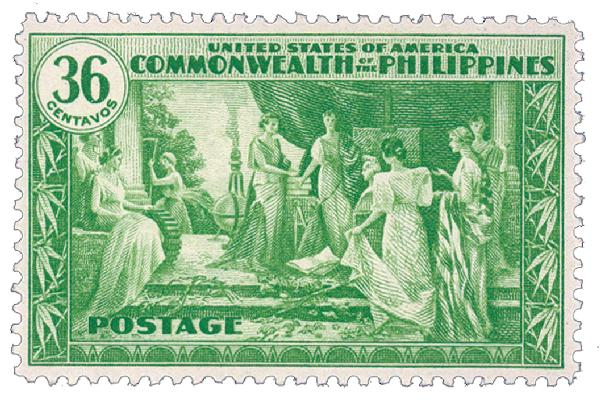 1935 36c Philippines, yellow green, unwatermarked, perf 11