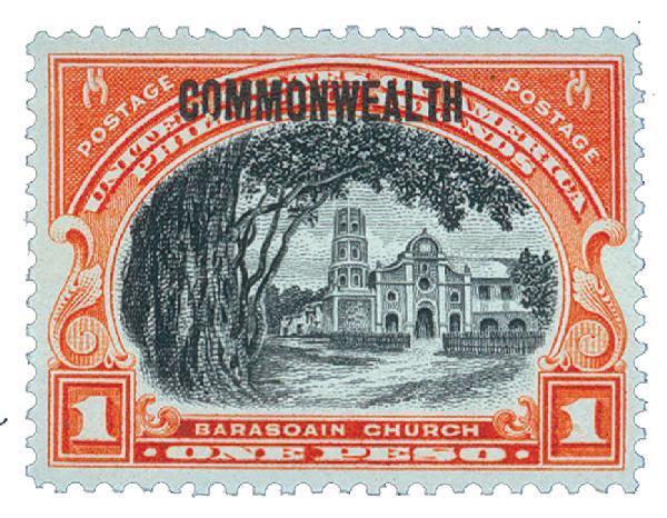 1937 1p Philippines, red orange,black,unwatermarked, perf 11