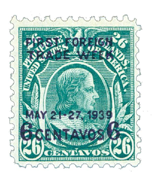 1939 6c Philippines, on 26c Philippines, blue green