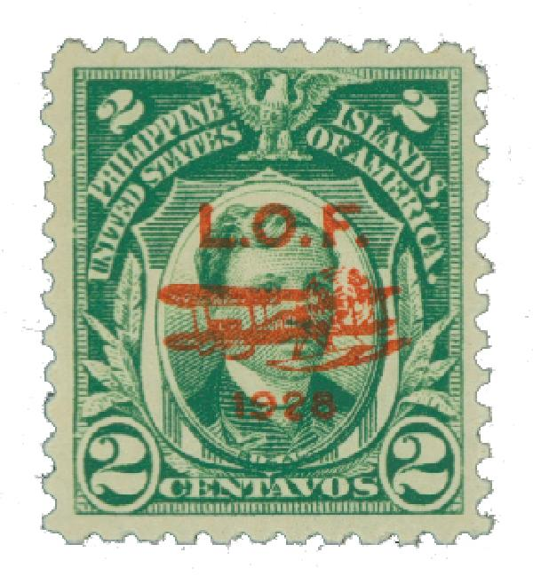1928 2c Philippine Islands Airmail, green, unwatermarked, perf 11