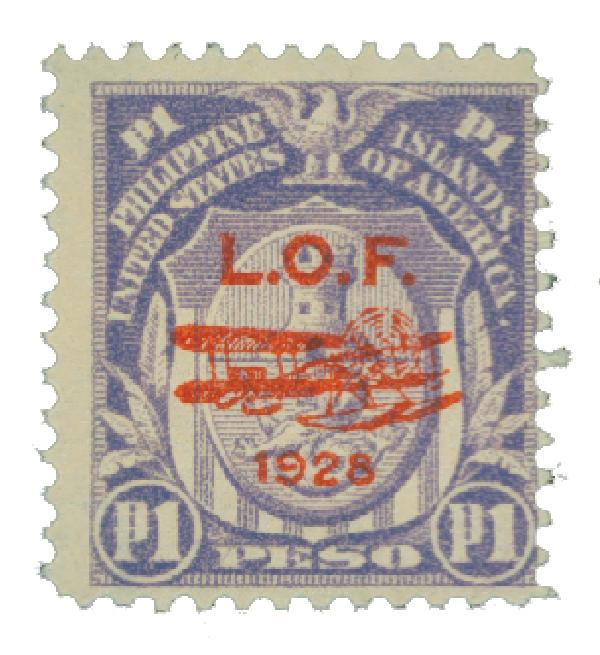 1928 1p Philippine Islands Airmail, pale violet,single-line watermark, perf 12