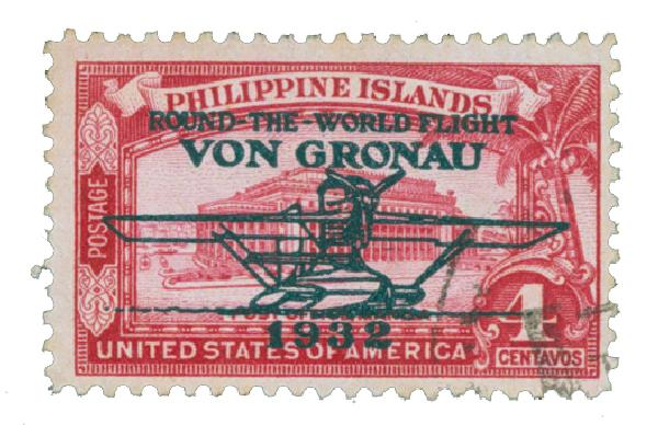 1932 4c Philippine Islands Airmail, rose carmine, unwatermarked, perf 11