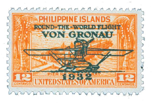 1932 12c Philippine Islands Airmail, orange, unwatermarked, perf 11