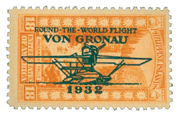1932 18c Philippine Islands Airmail, red orange, unwatermarked, perf 11