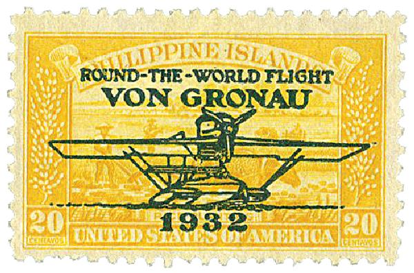 1932 20c Philippine Islands Airmail, yellow, unwatermarked, perf 11
