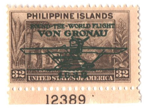 1932 32c Philippine Islands Airmail, olive brown, unwatermarked, perf 11