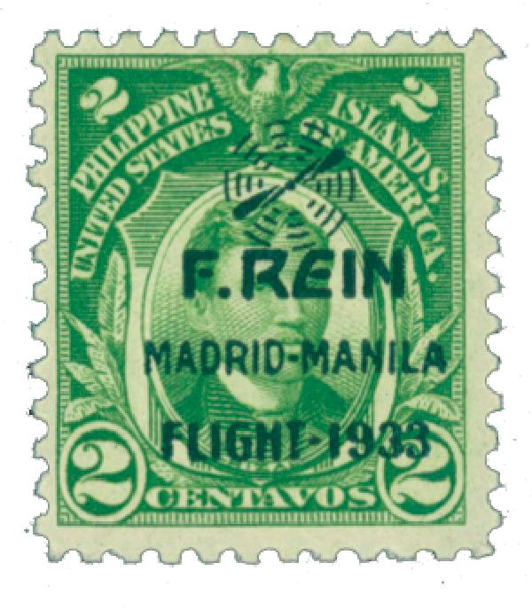 1933 2c Philippine Islands Airmail, green,on US Regular Issues