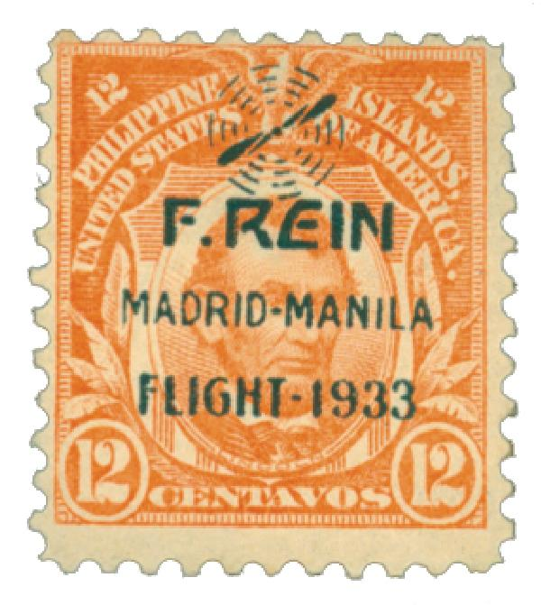 1933 12c Philippine Islands Airmail, orange, on US Regular Issues