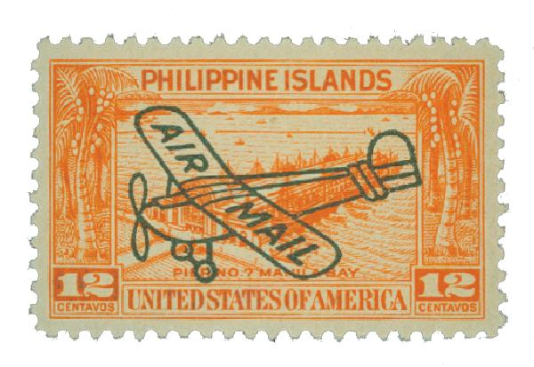 1933 12c Philippine Islands Airmail, orange, unwatermarked, perf 11