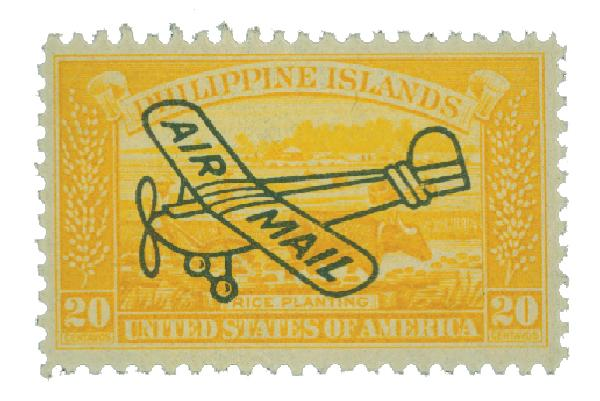 1933 20c Philippine Islands Airmail, yellow, unwatermarked, perf 11