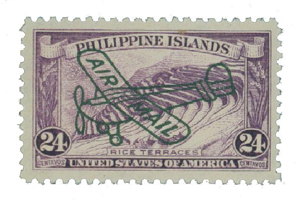 1933 24c Philippine Islands Airmail, deep violet,unwatermarked, perf 11