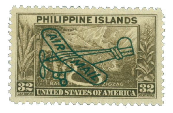 1933 32c Philippine Islands Airmail, olive brown,unwatermarked, perf 11