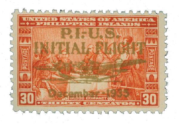 1935 30c Philippine Islands Airmail, orange red,unwatermarked, perf 11