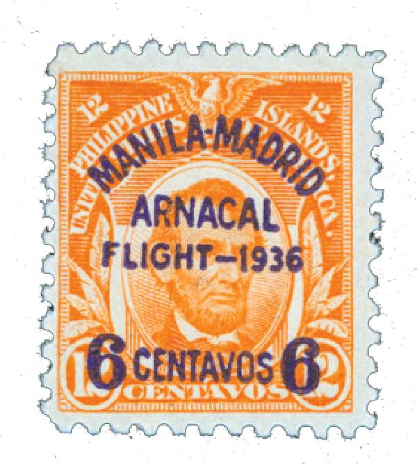 1936 6c on 12c Philippine Islands Airmail, red orange (V)