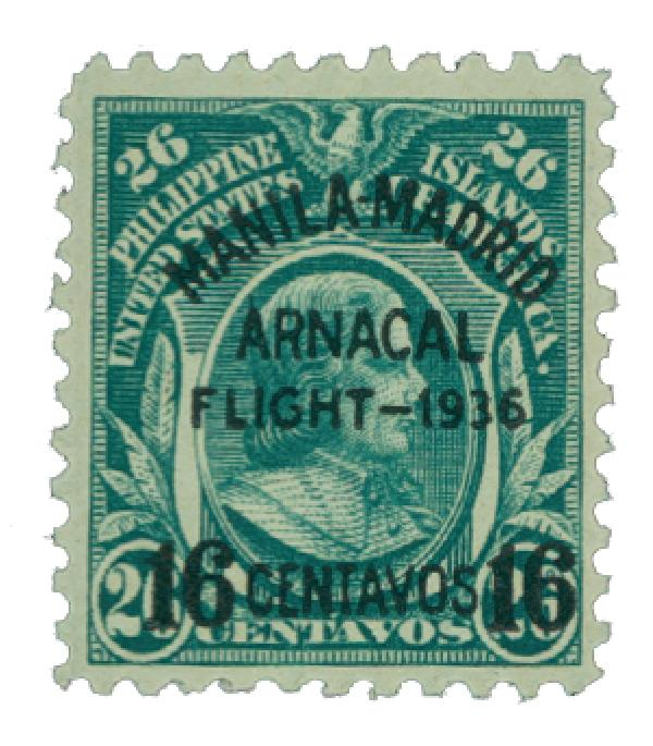1936 16c on 26c Philippine Islands Airmail, blue green, (Bk)