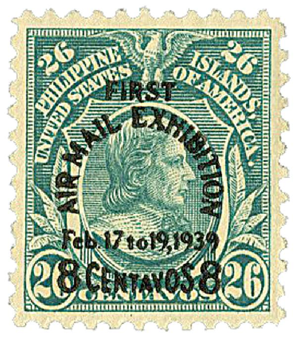 1939 8c on 26c Philippine Islands Airmail, blue green, #s 298a, 298, 431