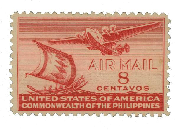 1941 8c Philippine Islands Airmail, carmine, unwatermarked, perf 11