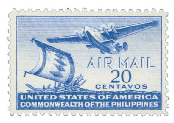 1941 20c Philippine Islands Airmail, ultramarine, unwatermarked, perf 11