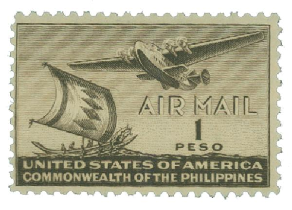 1941 1p Philippine Islands Airmail, sepia, unwatermarked, perf 11