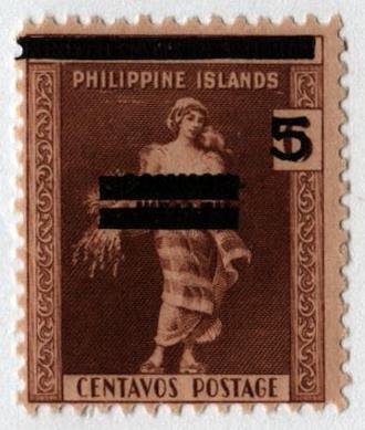 1942 5c on 6c Philippines Occupation Stamp, golden brown