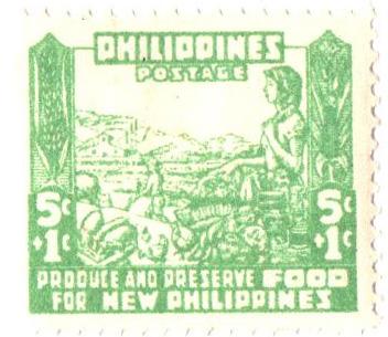 1942 5c + 1c Philippines Occupation Semi-Postal: Women, Farming, & Cannery, bright green