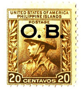 1935 20c Philippine Islands Official Stamp, light green olive