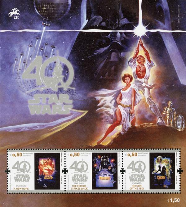 2017 0,50 Star Wars sheet of 3 stamps