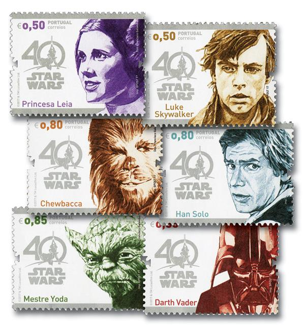 2017 0,50 Star Wars Characters set of 6 stamps
