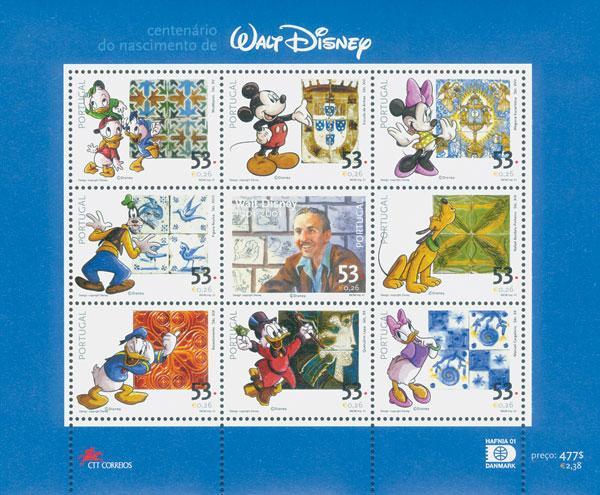 2001 Portugal W.Disney,100th Bday, S/S M