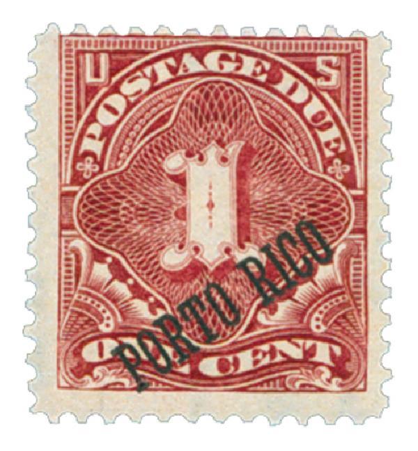 1899 1c Puerto Rico Postage Due, overprint, deep claret