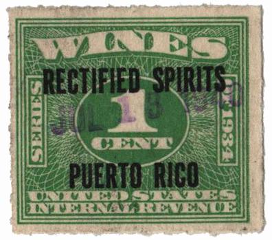 1938 1c Puerto Rico Rectified Spirits, green